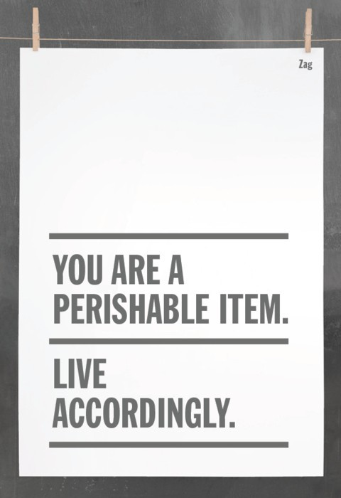 You are a perishable item. Live accordingly. By Zag